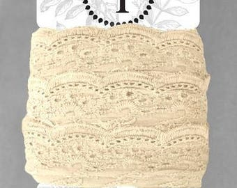 Naturally Dyed Organic Cotton Lace, 75mm wide - Sand *sold by the 5m card*