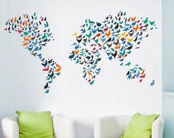 kcik1635 Full Color Wall decal Birds world map children's bedroom