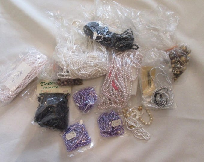 Bags of Unstrung Beads in Various Sizes, Purple Beads, Faux Pearl, Necklace Supply Beads