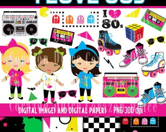 80's Digital Clip Art Set - Personal and Commercial Use Clip Art and Digital paper - INSTANT DOWNLOAD
