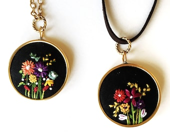 Mothers Day Gift, Embroidered necklace, wildflower pendant in black, floral jewelry gift, nature jewelry, girlfriend gift, unique gift