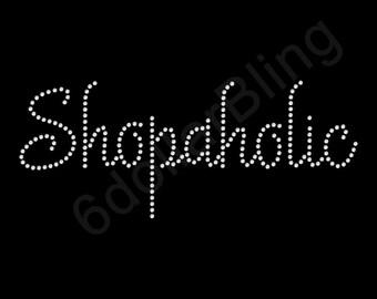 "Rhinestone Iron On Transfer ""Shopaholic"" - Crystal Bling Design Shopping - Make Your Own Shirt DIY!"
