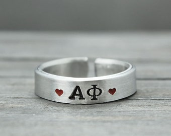 Alpha Phi Ring, Sorority Ring,  Alpha Phi Jewelry, Hand Stamped Ring, Personal Sorority