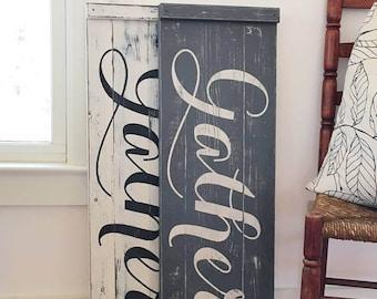 """GATHER SIGN, Rustic Gather Sign, Wood Gather Sign, Large Gather Sign, Dining Room Signs, Dining Room Decor, Fixer Upper Style, 35.5"""" x 12"""""""