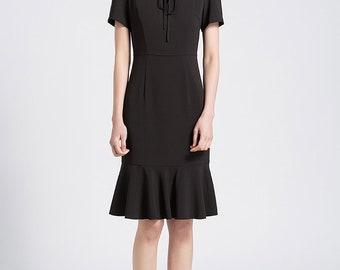 Young Lady Dress Vintage Black Fishtail Dress Flared Dress Made to Size Mermaid Dress Little Black Dress CC544