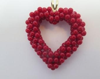 Lovely Red Beaded Heart Pendant