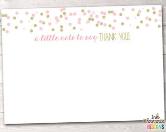 Printable Thank You Cards Instant Download Stationery PDF Pink & Gold Polka Dot Confetti