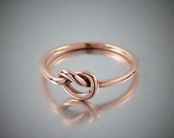 Épaisseur 14K Or Rose massif noeud bague, bague noeud 14K bague en or rose 14K or Promise Ring, calibre 15