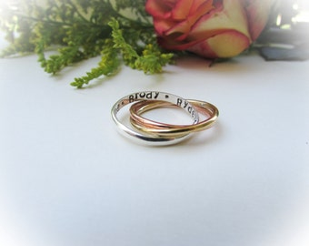 Personalized ring,Mixed Metal,Russian Wedding Ring,Copper ring,Brass ring,Silver, Intertwined Ring,Name Ring,Mom Ring,Grandmother Ring