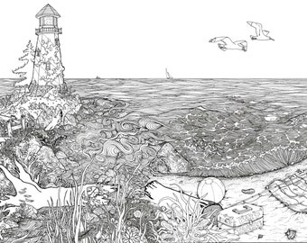 Lighthouse on the Beach pen and ink illustration PRINT black and white coloring page river meets ocean seashore shells crabs birds peaceful