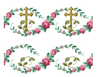Cross and roses. Repetitive border designs. Cross stitch pattern. Instant download PDF.