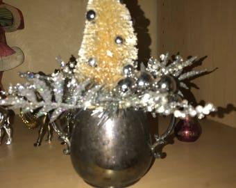 Vintage silver sugat bowl bottle brush Christmas tree
