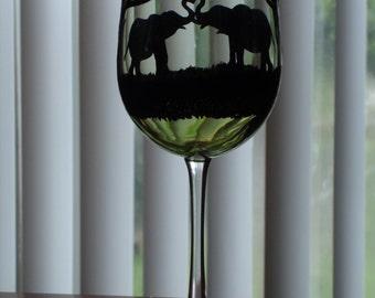 1 hand painted elephant wine glass