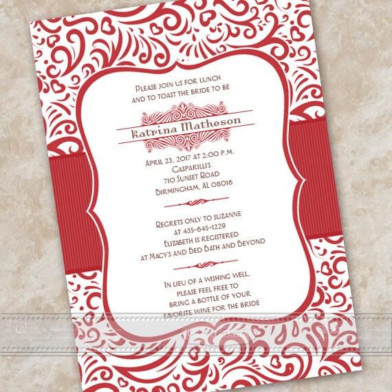 bridal shower invitations, wedding invitations, red bridal shower invitations, birthday party ideas, cherry red wedding invitations, IN343