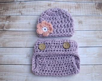 Baby Girl Diaper Cover Set, Newborn Girl Clothing, Infant Girl Beanie, Baby Photo Outfit, Newborn Girl Hat, Baby Flower Beanie