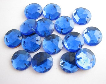 "Royal blue sew on beads, faceted drops for clothes decoration, 1/2"" large, unused!!"