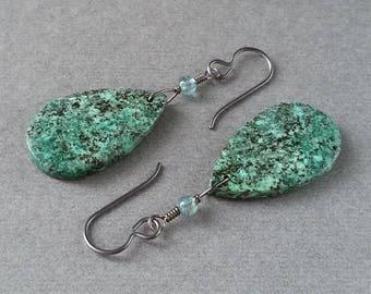 African Turquoise Teardrop Earrings, Aqua Apatite, Oxidized Sterling Silver, Blue Green Gemstone, Lightweight Slab, Earthy Natural Stone