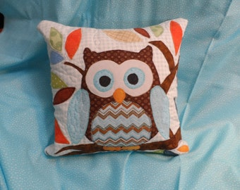 """Owl nursery pillow cover,  owl nursery decor, 12"""" pillow sham in brown and bright blue, ready to ship- also available in custom colors"""