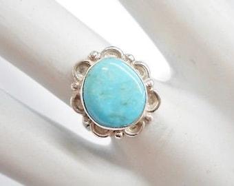 Turquoise Ring, Sterling Ring, Southwestern Ring, Turquoise, Vintage Sterling Silver Southwestern Turquoise Flower Ring Sz 6.5 #4402
