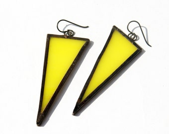 Triangle Earrings - Stained Glass Earrings- Yellow Triangle Earrings- Statement Earrings- Colorful Earrings- Modern Jewelry