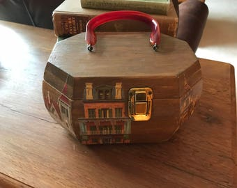 Vintage Wood Box Purse, Decoupage of Houses, Bag, Lucite Handle