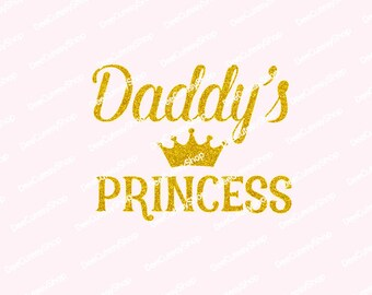 Daddy Iron On, Daddy's Princess Iron On, Non-Shed Glitter, Gold, Gold Glitter, DIY, Iron On Decal, Heat Transfer, NOT DIGITAL, Iron On Decal