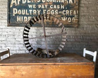 Antique Country Farm Squirrel Cage Running Wheel American Folk Decor
