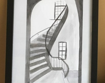 """Small Steps : 5.5 x 8.5"""" ink on paper (9 x 11 framed)"""