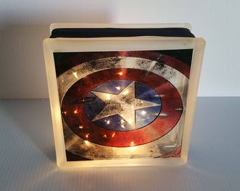 Captain America Shield Glass Block with Lights