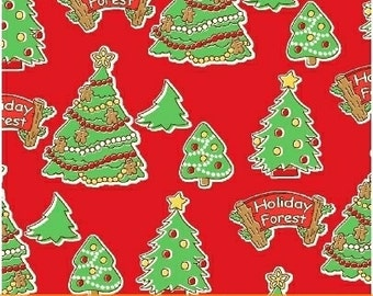 Storybook Christmas Red Christmas Trees 41751-3 by Whistler Studios for Windham Fabrics