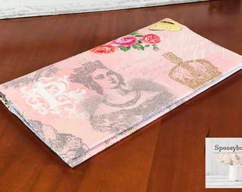 Checkbook cover coupon holder Royal French Majesty in pink-ready to ship