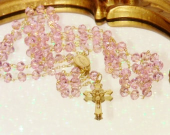 Pink Rosary with Gold Crucifix Jewelry Christmas Gift Handmade Italian