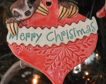 Handmade Clay Ornament with Sloth