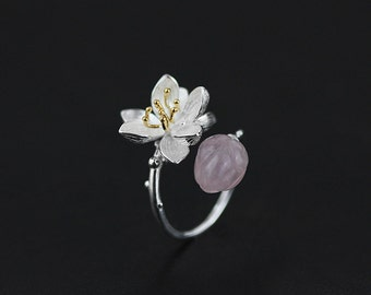 Bloom Flower Bud Ring Silver Bloom Lotus Gemstone Bud Twig Open Ring Adjustable Ring Handmade Jewelry Gift For Her
