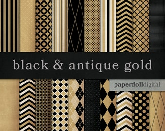 Black and Gold Digital Paper - Black and Old Gold Chevron Paper - Antique Gold Distressed Digital Paper -  Instant Download - 20 Sheets
