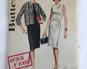 Butterick Pattern 2631 Vintage Quick and Easy Misses Sheath Dress and Jacket 1960's