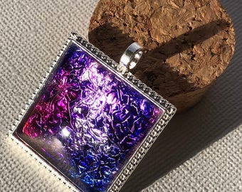 Magenta, Purple and Blue Square Alcohol Ink Pendant, Necklace, Silver and Glass Pendant