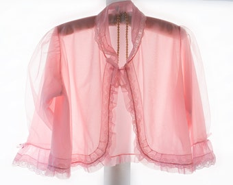 Adorable 'Dorothy Perkins' soft floaty double layer rose pink nylon and sexy matching lace and frill detail 1960's vintage bed jacket - 4266