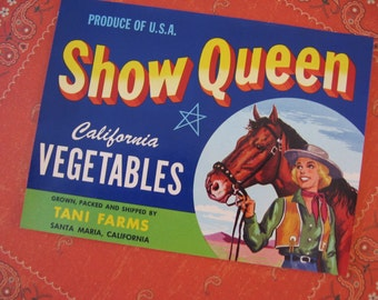Vintage Original Label Show Queen Vegetables Can Cowgirl Horse