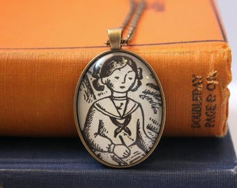 Betsy Tacy book necklace - graduation gift for teacher or librarian - creative book club gift idea - book page jewelry - literary holiday