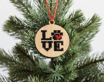 Bamboo Wood Cross Stitch Ornament DIY Kit*Paw Print LOVE Ornament *Modern Christmas Embroidery Ornament