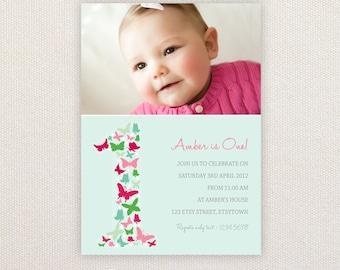 Photo Birthday Invitations. Girls 1st birthday. I Customize, You Print.