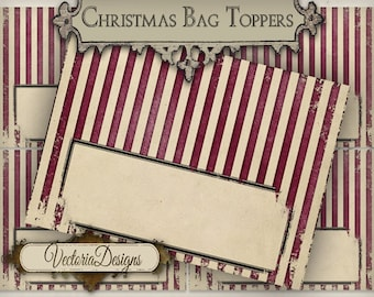 Christmas Candy Bag Toppers printable christmas paper crafting add text scrapbooking digital download digital sheet instant - VD0576