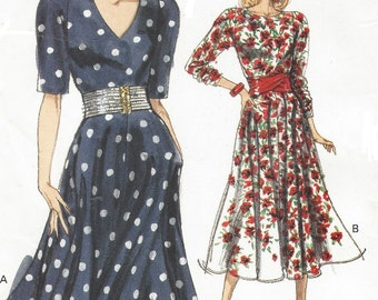 80s Womens Dress Neckline Variations Flared Skirt Vogue Sewing Pattern 7465 Size 12 14 16 Bust 34 36 38 UnCut Vintage Sewing Patterns