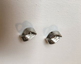 Signed Trifari Vintage Silver Tone Clip On Earrings
