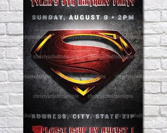 Custom Superman Birthday Party Printable Invitation