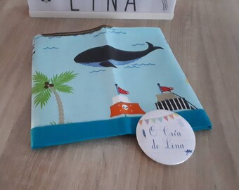 Napkin child customizable whale and sea.
