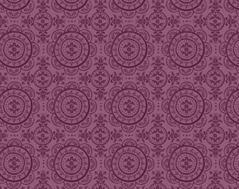 Mulberry Blooms Medallion on Purple Cotton Woven