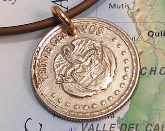 Colombia, Vintage Coin Necklace --- Bird of Prey --- Condor - Endangered Species - Freedom - World History - Travels - Rare Bird - Flight
