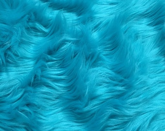 "Turquoise Faux Fur for DIY Craft Projects, costumes, Photo Prop, Home Decor, pillows Apprx. W 18"" inches x Apprx. L 20"" inches -702"